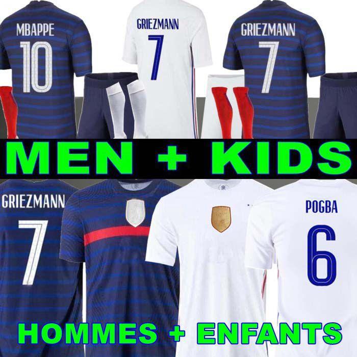 رجل + أطفال 2021 Grizmann Mbappe Soccer Jersey Kante 20 21 Pogba Shirt Mailleot de Football 2018 فرنسا Zidane Giroud Kimpembe Ndombele Thauvin 100th Hommes Enfants