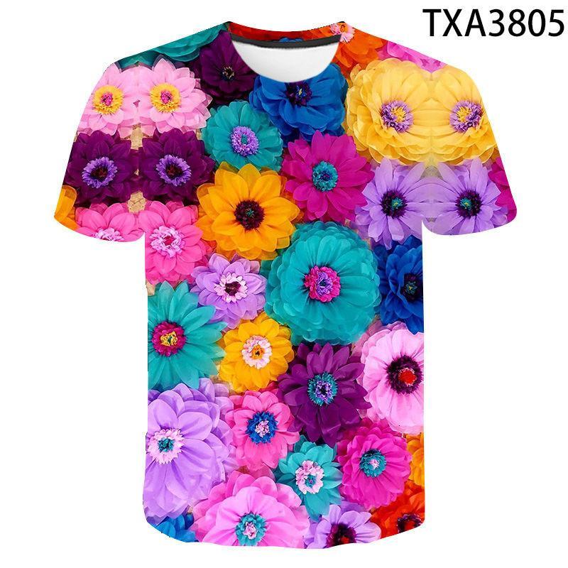 K8 T 셔츠 Flower3D 완전 인쇄 펑크 스타일 남성 여성 O-Neck 하라주쿠 드래그 소프트 및 Com 차
