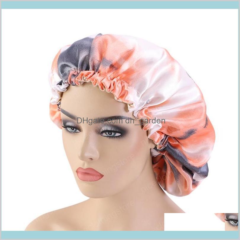 Tiedyed Satin Bonnet Regola Stampa grande doppio strato Seta Sleep Cover Cap Night Hat Tools Lbvph Beanieskull SGPNZ