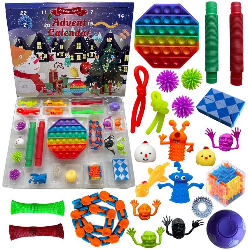 24pcs / Set natale giocattoli giocattoli giocattoli avvento calendario cieco box regali Dimple di decompressione giocattolo morbido spremitovelty partito cartone animato con favore LJJA4152
