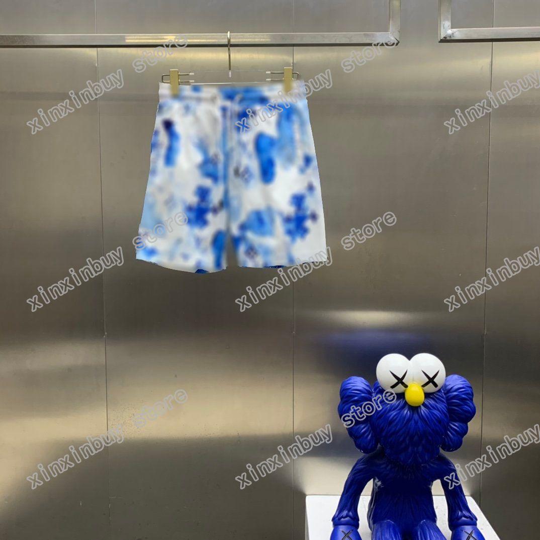 21SS MENS Designer Shorts Pantalones Pantalones Letra Acuarela Impresión Primavera Summer Hombres Pantalón Casual Letras Pantalones Boda Negro Azul Rojo 05