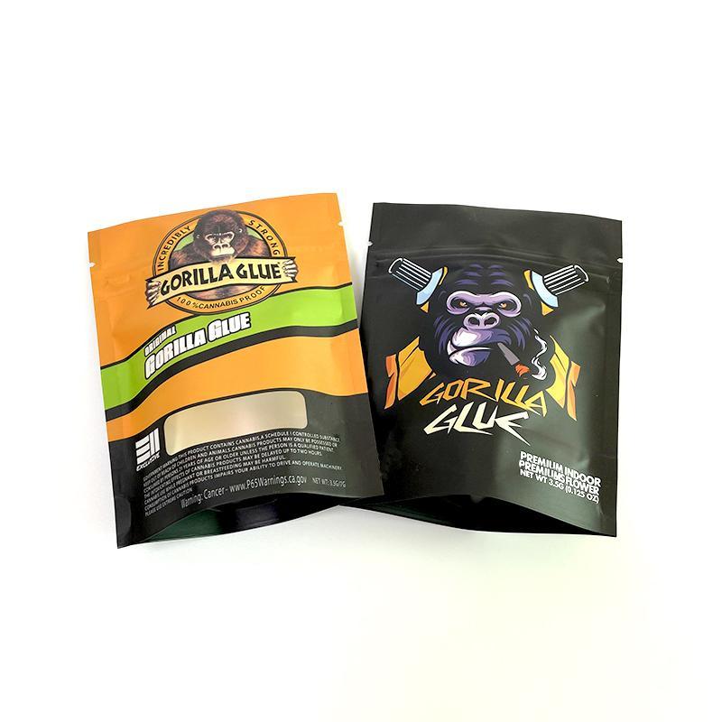 Gorilla Colla 3.5G Asciugatura Herb Flower Packaging Bag Stand BACK SACCHETTO A PROVA A PROVA A PROVA Zipper Zipper Cerniera Ricaricabile