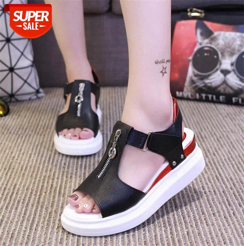 2019 summer women sandals Platform Open Toe Hook loop flat Zipper wedge High heels Peep Mixed Colors pumps #ML2B