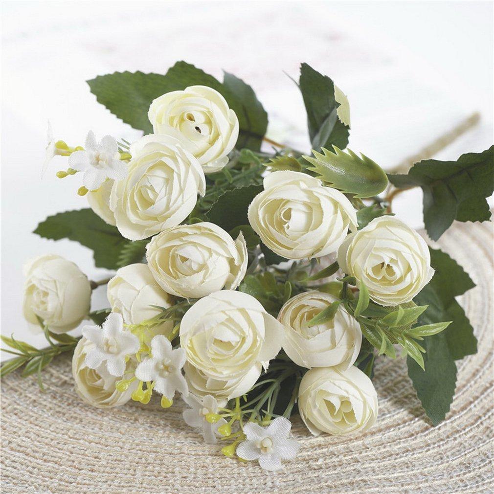 13 kafa çay güller demet ev oturma odası düğün dekorasyon flores ipek yapay çiçek Y0314