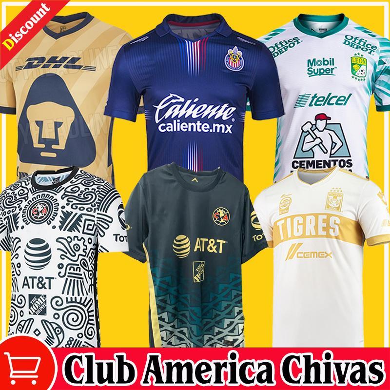 2021 2122 Chivas Guadalajara Accueil Troisième Esports Soccer Jerseys 115ème 20/21 Club America Unam Gold Leon Uanl Tigres Camiseta de futbol 115 Année Pre-match shirts
