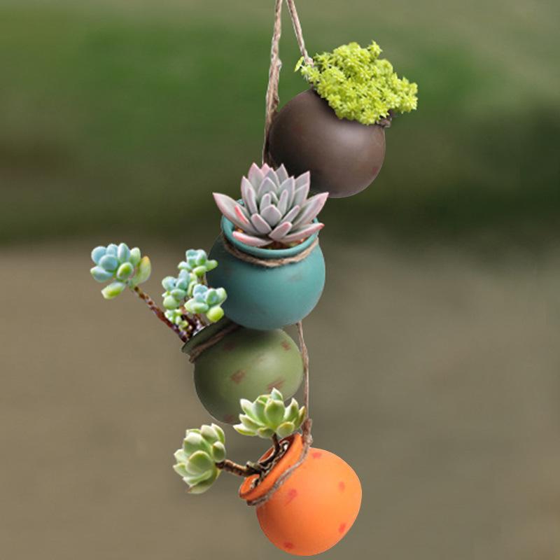 Conjunto de quatro peças de enforcamento de vaso de cerâmica de vaso de cerâmica permeável à varanda de parede Potenciômetro de parede Pastagem rústica Pastel Plantador de cerâmica 1391 v2