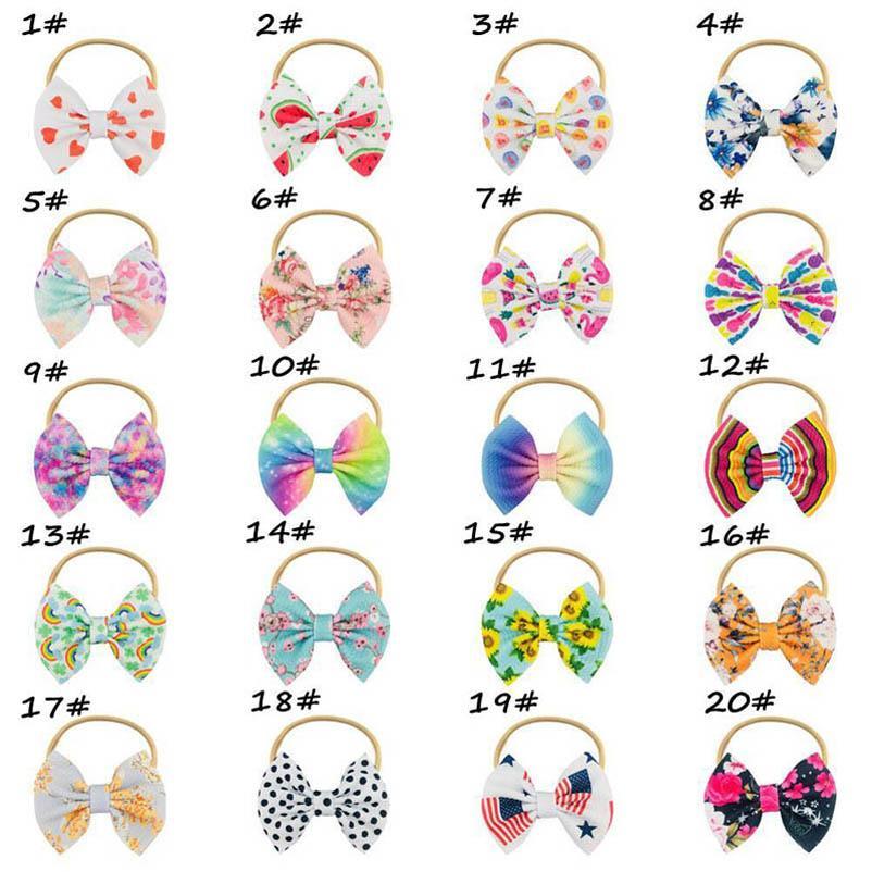 Baby Hair Accessories Girls Headbands Accessory Children Kids Bows Bowknot Nylon Rainbow Flower Dots Cartoon Head Bands B5411