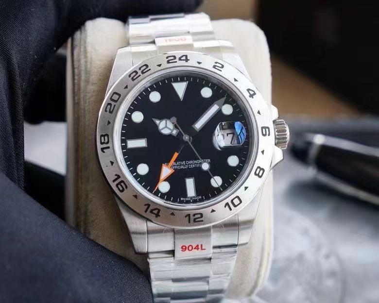 Armbanduhren 3A Herren Watch Explorer II Saphirglas Black Dial GMT Automatische mechanische mechanische massive Edelstahl Originalverschluss Herrenuhren