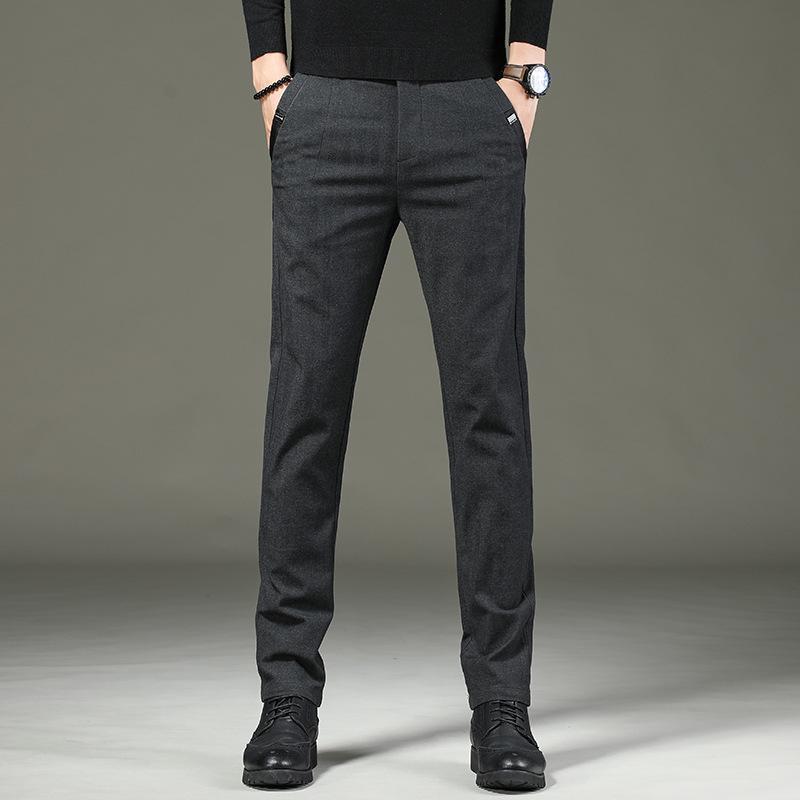 가을과 겨울 남성 바지 비즈니스 남성 패션 캐주얼 슬림 스트레이트 다리 바지 얇은 탄력성 긴 플러스 velevet