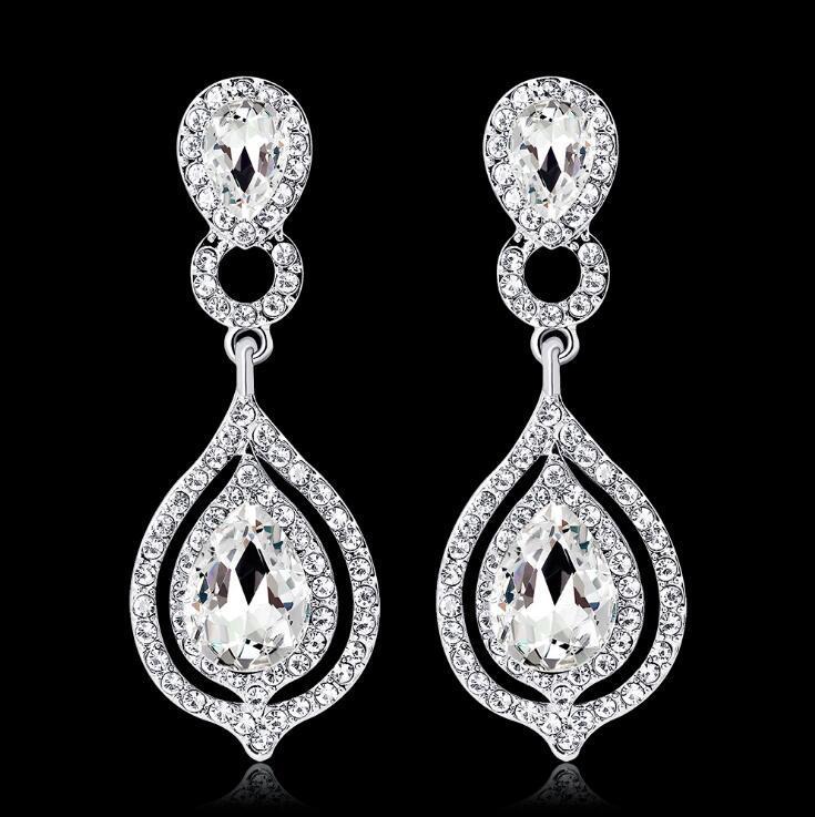 Fashion Crystal Wedding Jewelry Bride Full Rhinestone Water Drop Cubic Zirconia Studs Eardrop Dangle Earrings Party Gift