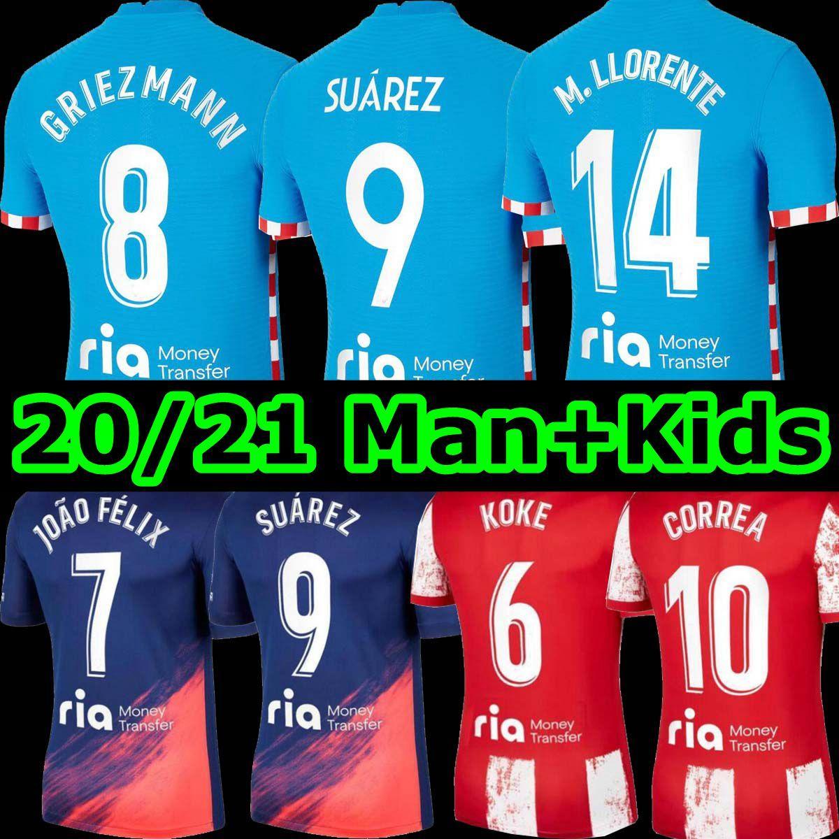 21 22 Atletico مدريد لكرة القدم الفانيلة Suarez João Félix 2021 2022 Grizmann Correa Koke Camisetas دي Fútbol Lemar Carrasco de Paul Men Kids Kit Coot Shirts Tops