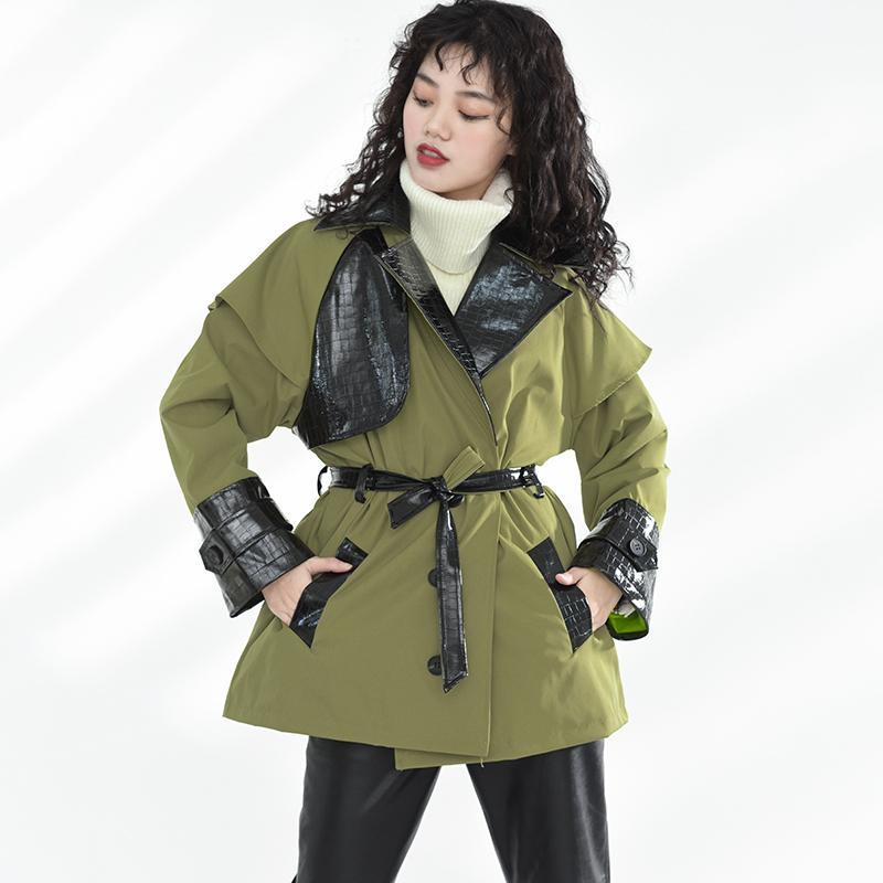 Safari tarzı kruvaze bayanlar ceket ilkbahar sonbahar uzun kollu artı boyutu yeşil palto rahat ceket 8q62306 210510