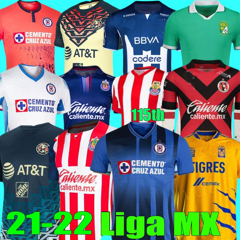 LIGA MX 2021 2022 Tigres Unam Gignac Club America Soccer Jerseys Tijuana Leon Cruz Azul 21 22 Chemises de football Monterrey Giovani 115ème Chivas Jersey O.Peralta