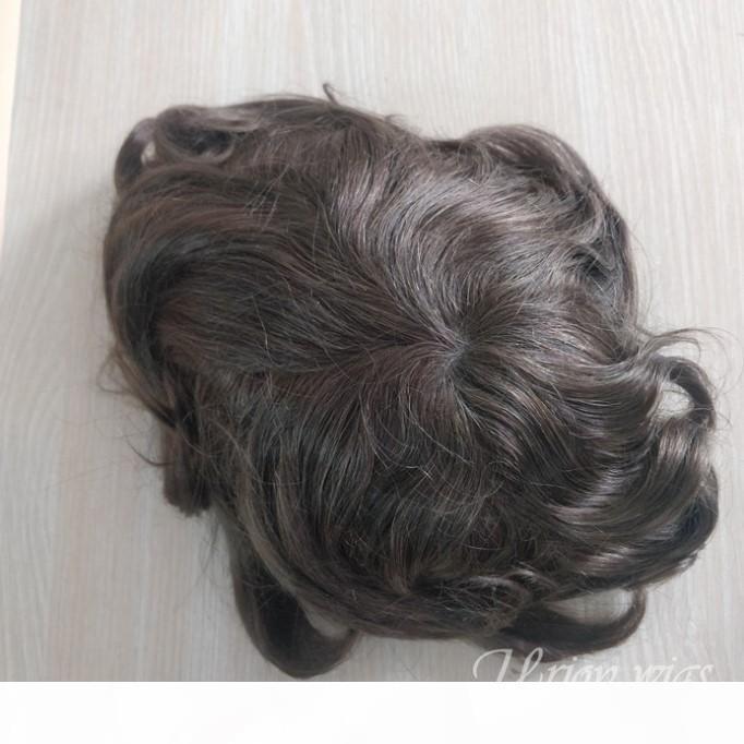 Dentelle suisse avec la base de la base PU Perruque de perruque pour hommes Systèmes de cheveux Prothèse invisible Nœurs Naturels naturels
