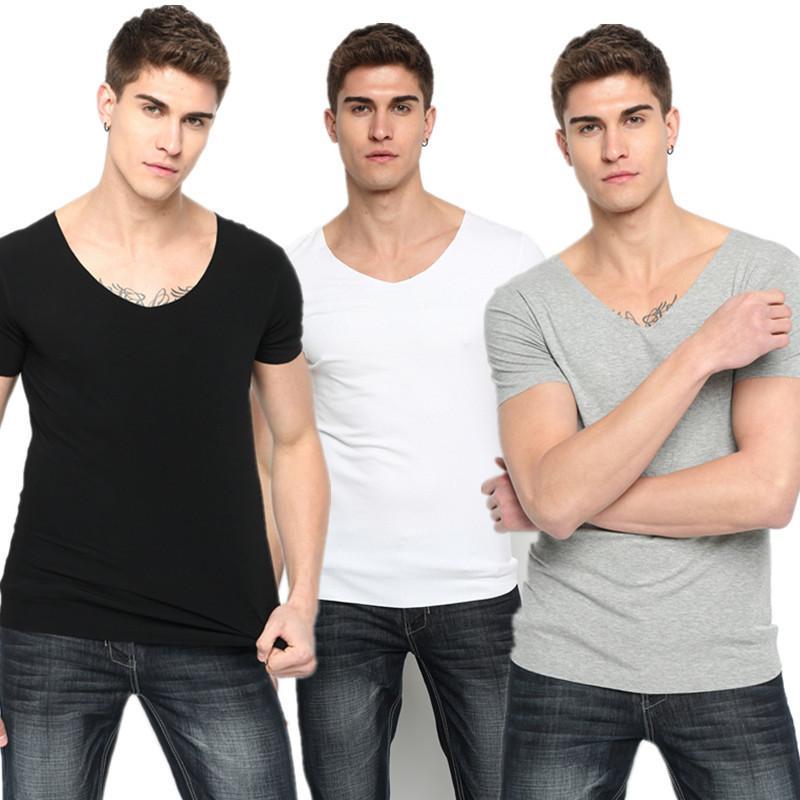 Men Short Sleeve T Shirts Summer Solid V Neck Slim Fit Modal Tee Plus Size XXXL Breathable Tshirts Male