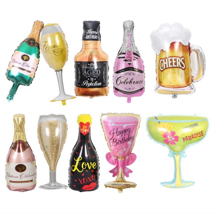 Büyük Helyum Balon Şampanya Goblet Viski Bira Balon Düğün Doğum Günü Partisi Süslemeleri Yetişkin Çocuklar Balonlar Olay Parti Malzemeleri