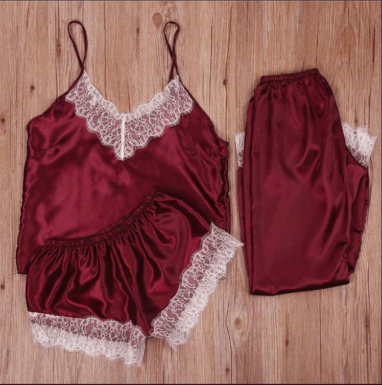 Ropa de dormir de tres piezas encaje sexy pijamas adulto ropa interior perspectiva tundir de mujer noche