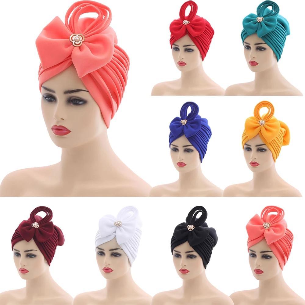 Cappucci africani Musulmani Aso Oke Hijab Gele Headtie già reso Turban Head Wrap Ladies Hat Cappello Auto Cap Nigerian Headtie Aso Oke Gele