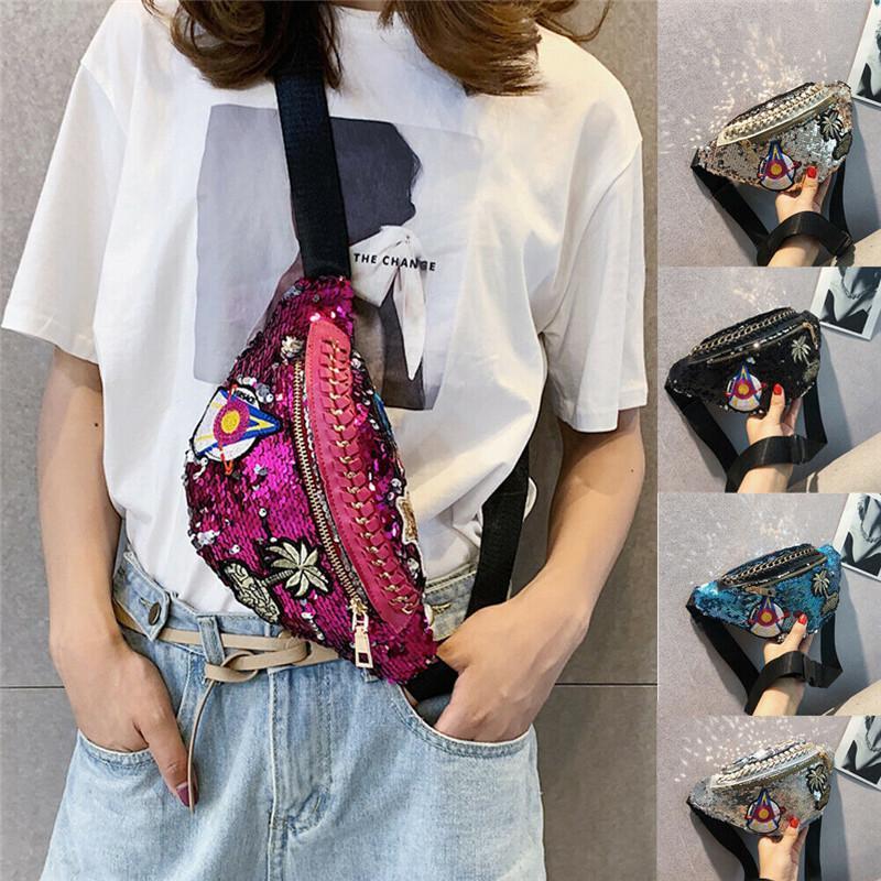 No Noenname-Null Fanny Pack Bum Bag Donne Donne Cintura Cintura Borse da viaggio Soldi per vacanze Sacchetti di paillettes