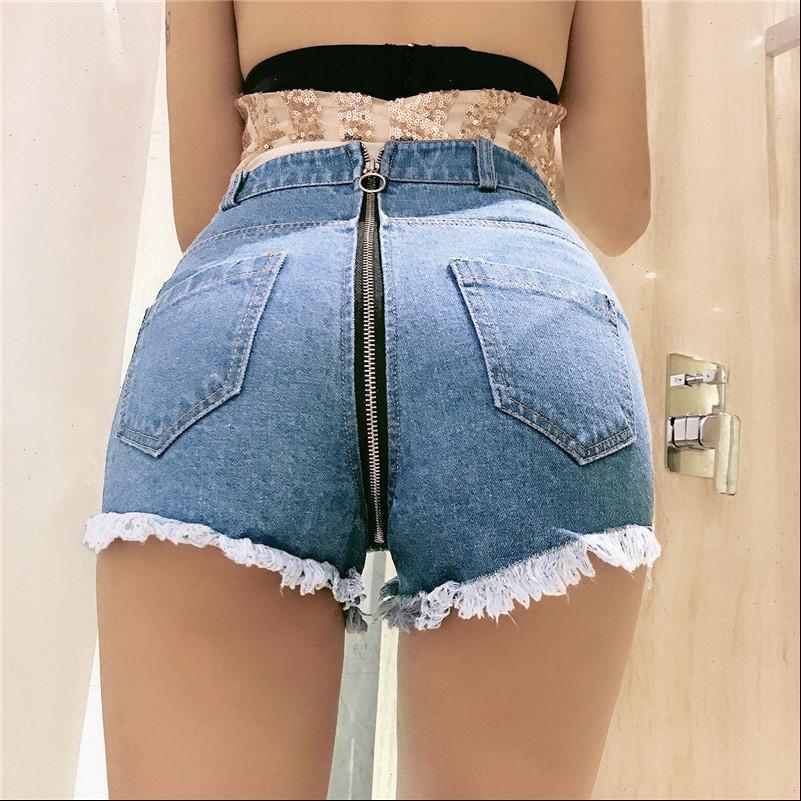 Sexy Rücken Reißverschluss Mini Jeans Womens Short Shorts Frauen Nachtclub Hohe Taille Loch Quaste Sommer Punk Vintage
