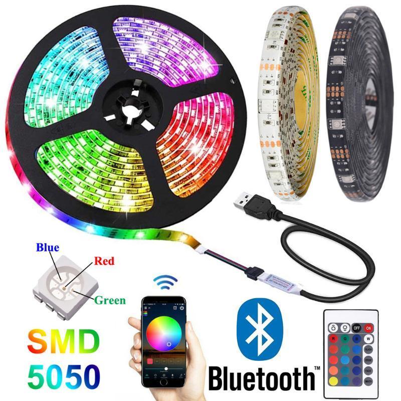 블루투스 RGB LED 스트립 조명 DC 5V Tira USB 네온 테이프 스트라이프 밴드 앰프 룸 TV PC 장식 스트립