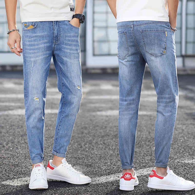 Estilo jeans primavera e verão homens magro dos homens para homens jovens