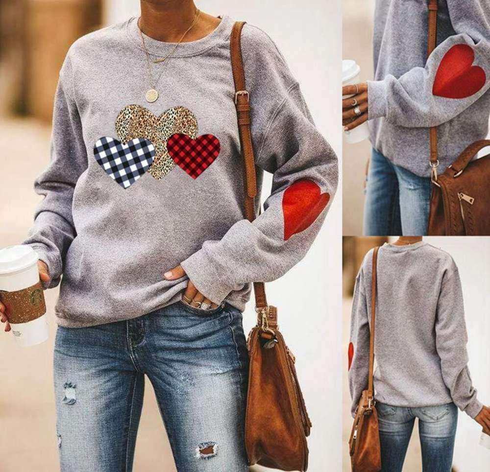 Свитер толстовок: сердце напечатаны круглые шеи с длинным рукавом свитер с клетчатым леопардом