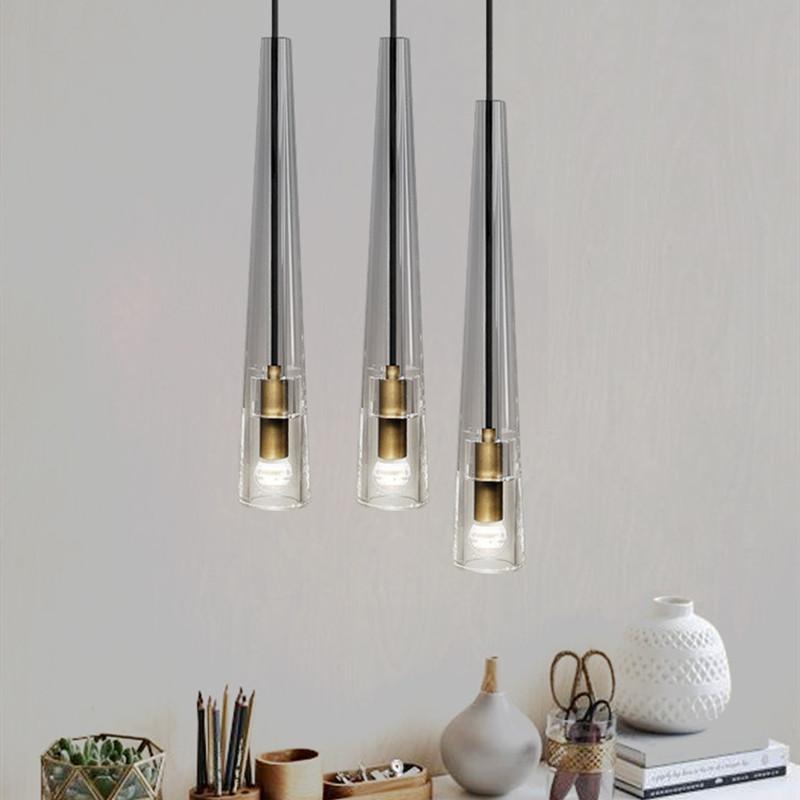 Nordic copper luxury post-modern crystal chandelier lamps For dining room bedroom bedside creative pendant lights E14 220V 110V 230V