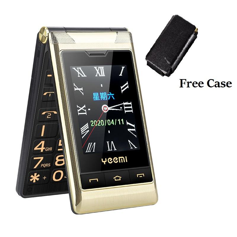 Unlocked Senior Flip Cell phones Double Dual Screen phone 2 SIM Card Speed Dial One key Fast Calling Touch Handwriting Big Keyboard FM Mobilephone For Old People