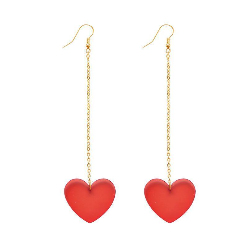 الحلي الكورية أزياء الحبيب شفاف الأحمر صندوق طويل مزاج الأذن الأذن أقراط للنساء مجوهرات pendientes استرخى الغندل