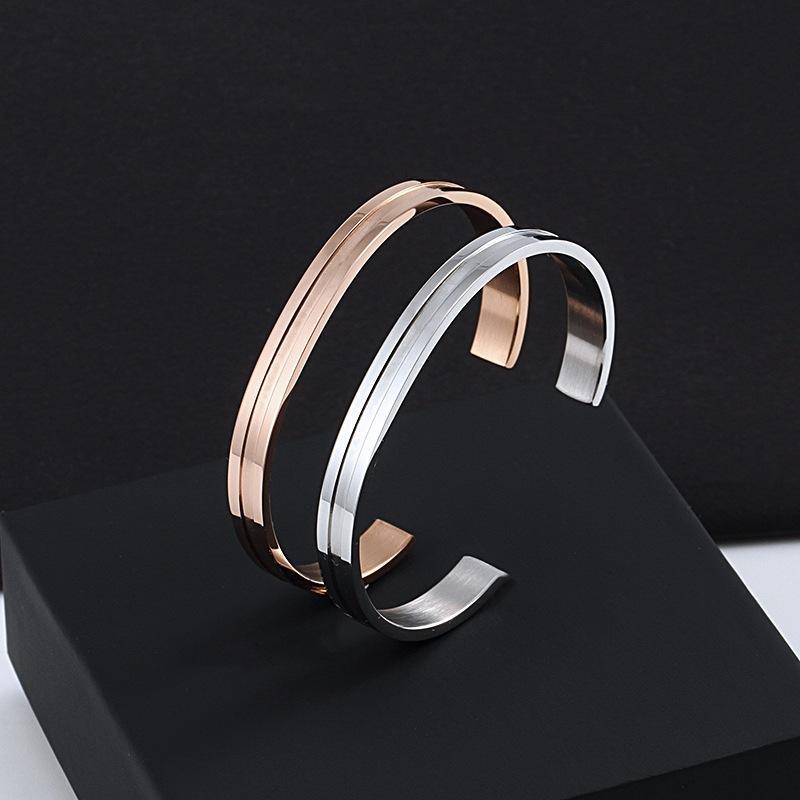 2021 Titan stahl Rose Gold Armreif armband Öffnen verstellbarer Hochzeitsschmuck für Männer und Frauen Geschenke nicht verblassen