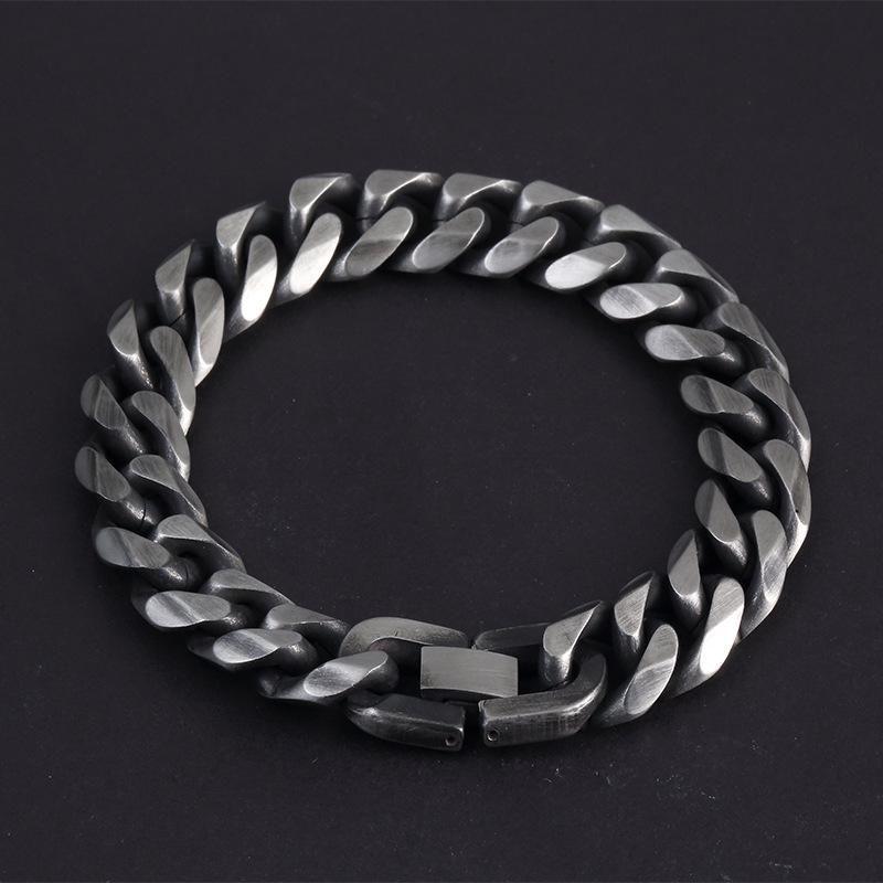 Miami Cuban Stainless Steel Chain Bracelets Men 8mm Flat Curb Bracelet Hip Hop Rock Sports Jewelry Wholesale Link,