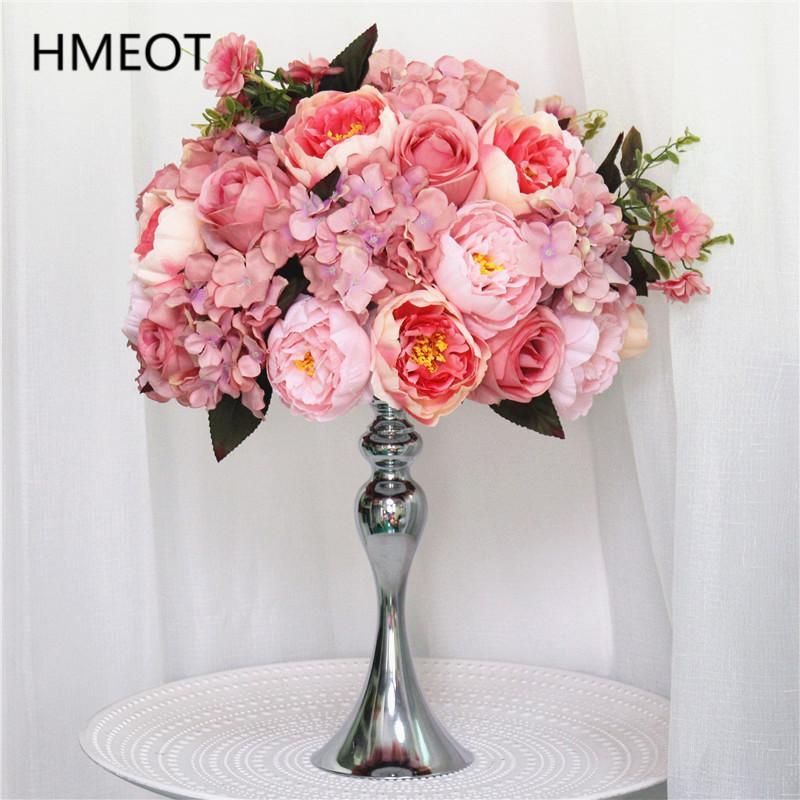 Customicable Rose Peony Hydrangea Artificial Flower Ball Party Wedding Dinner Table Centerpiece Silk Flower Arrangement Bouquet A0526