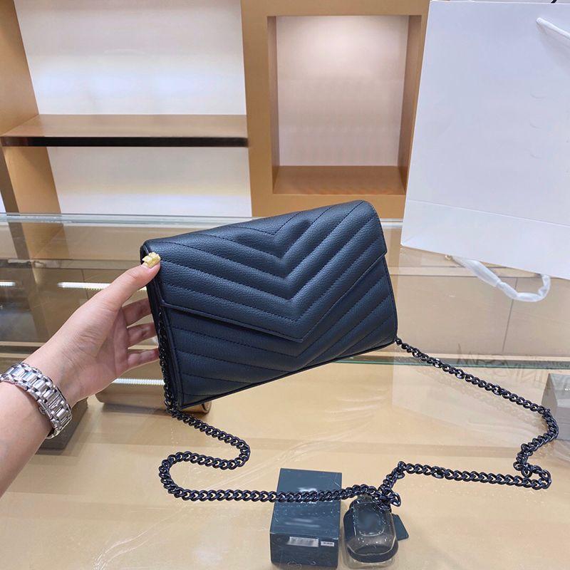Bolso de cuero genuino Viene con caja de cadena de WOC Mujeres Lujos de lujo diseñadores de moda Bolsos Clutch Female Clutch Classic High Quality Girl Bolsos