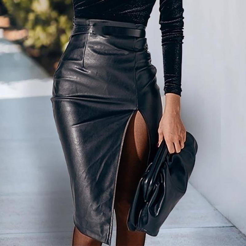 Black Pu couro split zipper mulheres midi saia cintura alta cintura sólida saias femininas streetwear senhoras casuais inferior 210331