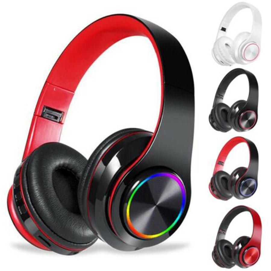 Stirnband Bluetooth Wireless Headset Flash Bunte Stereo-Sport-Kopfhörer-Unterstützung TF-Karte Aux für Telefon-PC-Laptop-Tablette