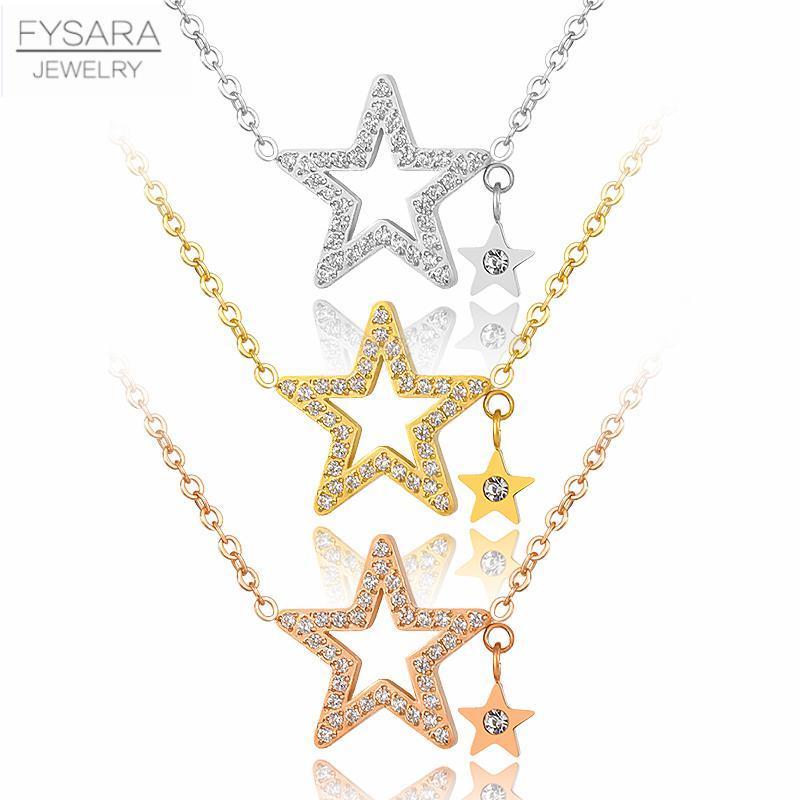 Collares colgantes Fysara Acero inoxidable Cubic Zirconia Micro Pavimentado Cristales Estrella Collar Clavícula corta para Mujeres Partido Lindo