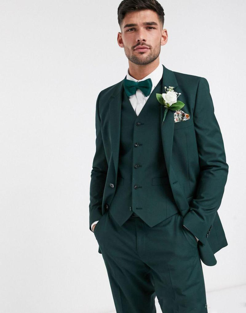 Men's Suits & Blazers 2021 Custom Made Two Button Dark Green Groom Tuxedos Groomsmen Man Wedding Blazer (Jacket+Pants+Vest)