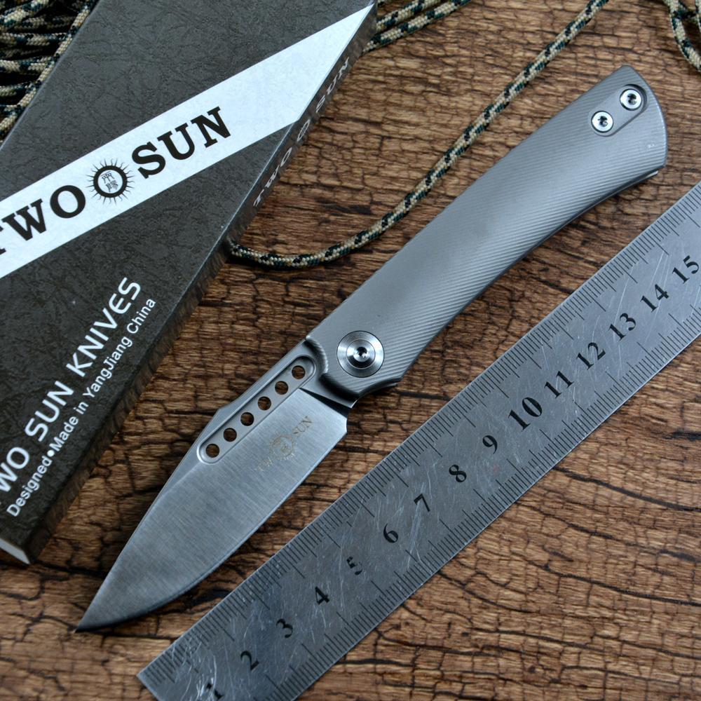 Twosun Knives Regalo Poltura Pocket Tactical Tactical Utility Utility Utility Survival Tool Slip Joint M390 Blade Blade Maniglia in titanio TS221