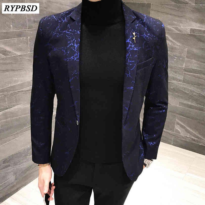 Marque Hommes Blazer Fashion Floral Slim Fit Courses Blazers Automne Casual Bouton Simple Bouton Mens de mariée Jacket 2021 Nouveau
