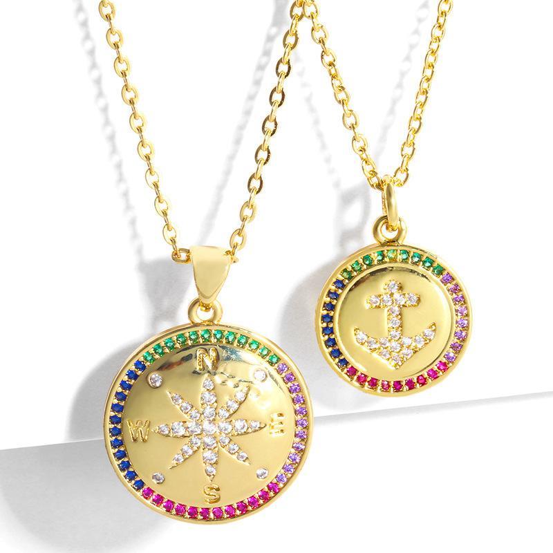 디자이너 패션 성격 크리 에이 티브 앵커 골드 도금 쇄골 짧은 목걸이 간단한 상감 다이아몬드 스웨터 체인 NKS68