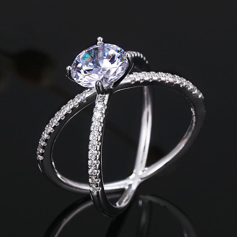 여성을위한 간단한 클래식 크로스 링 4 설정 빛나는 둥근 지르콘 돌 약혼 반지 웨딩 파티 패션 쥬얼리 선물 클러스터