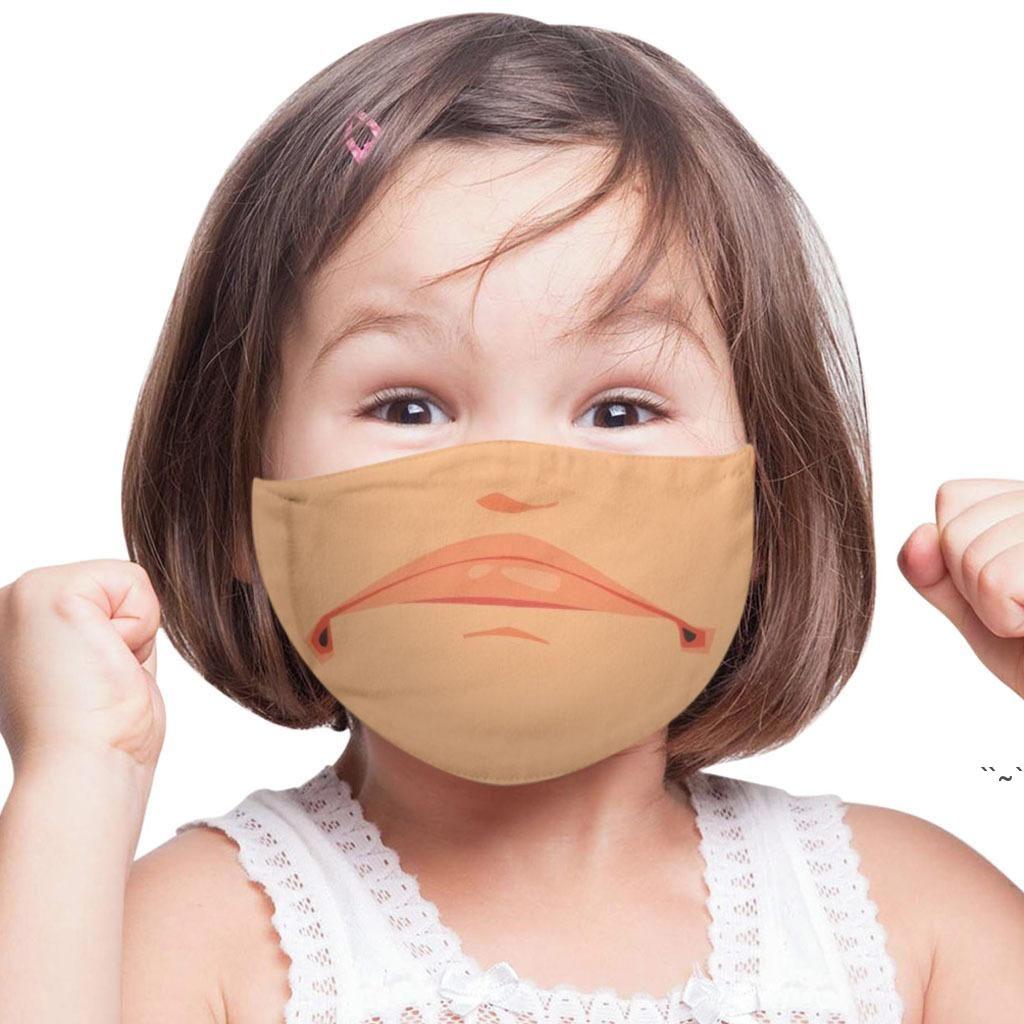 مضحك الوجه أقنعة المطبوعة الكبار الاطفال يندبروف قابل للغسل قابلة لإعادة الاستخدام القطن قابل للتعديل قناع الفم للجنسين 3d مزعج برتقالي الصوت OWC7268