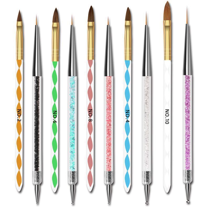 10 adet UV Jel Nail Art Fırça Seti Taşınabilir Naylon Saç Ev Salon Kristalleri İpuçları Oluşturucu Boyama Çizim Kalem Astar Oyma Fırçalar