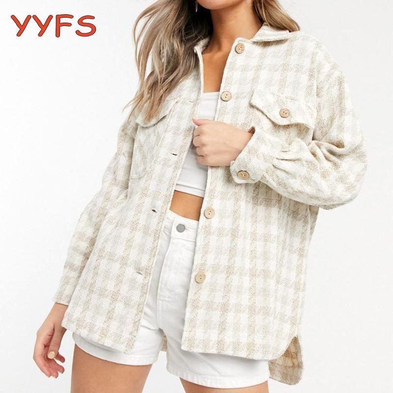 Elegante camisas xadrez camisas mulheres grossas lãs vintage longo blusa jaqueta inverno overshirt womens casual mistura casaco feminino mulheres blusas