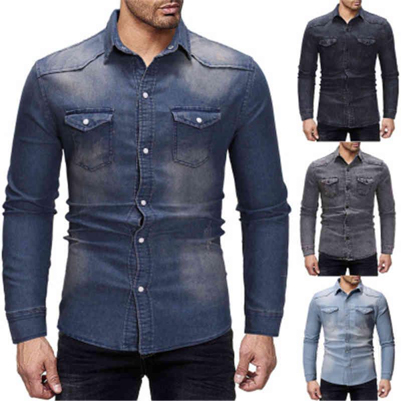 Herren Herren Denim Skinny Fashion Retro Trend Langarm Cardigan Revers Nacken Plus Größe Hemden Frühling Männliche Freizeit Einreiher Slim Tops