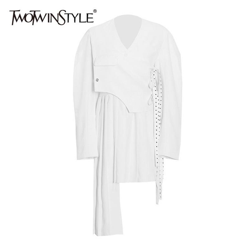 Vestido de laço irregular para mulheres v pescoço manga comprida alta cintura assimétrica hem vintage vestidos feminino primavera 210520