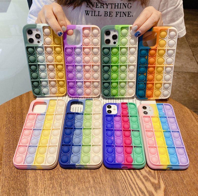 Fidget Caso Único Casos de telefone 3D para iPhone 12 mini pro 11 xr xs max x 10 8 7 mais push Soft Silicone arco-íris moda celular back pele capa móvel
