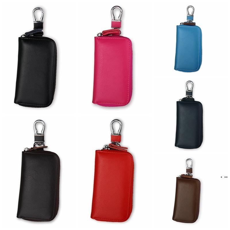 Car Key Wallet Case Leather Car Key Chain Zipper Key Case coin Holder keychain Wallet Pouch Purse Unisex Storage Bags HWF6330
