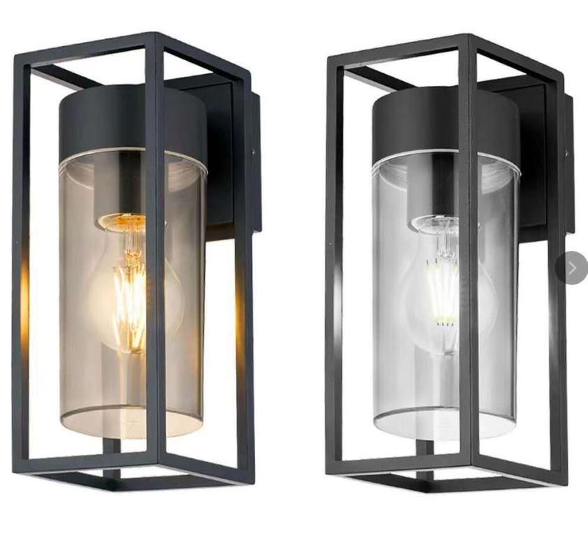 Lámpara de pared American Modern Industrial Retro Hierro forjado Caja de cristal Al Aire Libre Restaurante Nordic Bar Aisle Loft LED Black Light